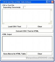 CSV & Text Files to HTML Tables Software screenshot